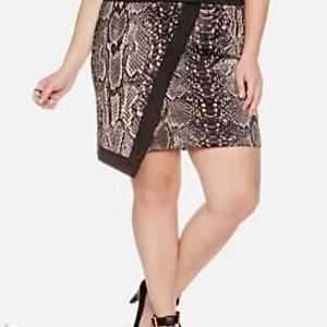 mblm Faux Wrap Snakeskin Printed Skirt